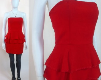 80s Asian silk jacquard red crepe Lida Baday ruffle peplum strapless mini cocktail dress