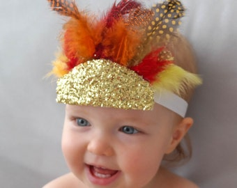 Feather Thanksgiving Headband with Gold Glitter, Holiday Headband, Glitter Baby Headband, Feather Headdress, Gold Glitter