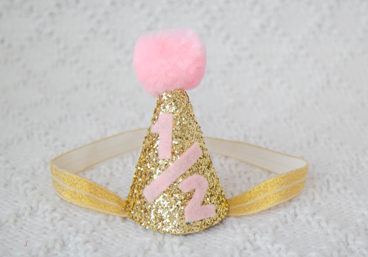 6 month old gold and light pink party hat 1 2 party hat 6 for 6 month birthday decorations
