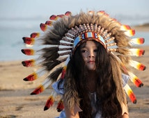 Kid's indian headdress, Kid's indian warbonnet, children's headdress, children's warbonnet, native american, indian , feathers headdress