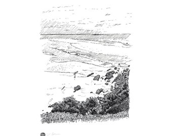 Surfer on beach Byron Bay Australia, pen and ink drawing produced as black and white giclee digital prints