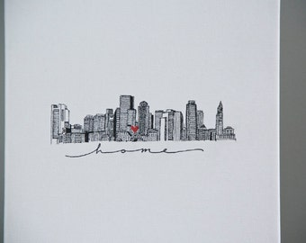 Boston skyline illustration print//pen and ink cityscape//8X10 city art print