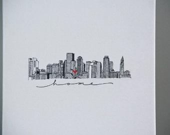 Boston skyline illustration print//pen and ink cityscape//8X10 city art print