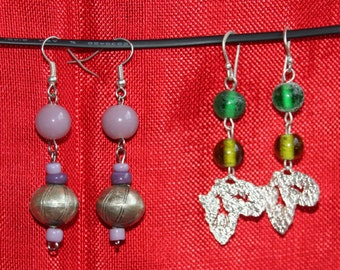 Glass and nickel beaded earrings from Ethiopia