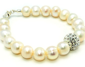 Bracelet of Stunning Fresh Water Pearls & Crystal Glass gift ideas great gift for her gift for wife or girlfriend  birthday gift for girl