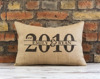 Burlap Pillow cover, Personalized Pillow, wedding gift, family established pillow, name pillow, personalized gift, gift for her,housewarmin