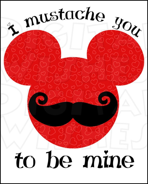 valentines day mustache mickey mouse head ears red digital iron on transfer clip art instant download image diy for shirt