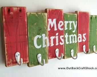Christmas Stocking Hanger; Reclaimed Wood Christmas Decoration; 6 Hook Stocking Holder; Rustic Decor; Shabby Decor; Christmas Decor