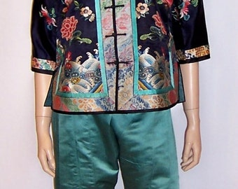 Late 19th to Early 20th Century-Chinese Embroidered Jacket and Matching Pants with Forbidden Stitch