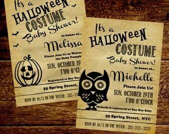 Halloween Baby Shower Invitation / Invite.  Rustic Kraft. 5x7. Owl Baby Shower.  Fall Baby Shower.  Baby Sprinkle.  Halloween Costume Party.