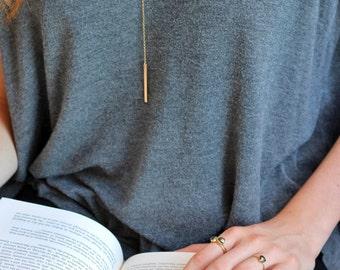 Bar Lariat Necklace Simple Y Necklace Bar Necklace Gold Y Necklace Bar Drop Necklace Gold Lariat Delicate Necklace Minimal Y Necklace