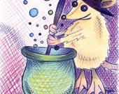 5x7 Fine Art Print, Cute, Pet Rat Fancy Rat, Nursery Art, Nursery Decor, Children's Art, Cute Animals, Cute Pets, Halloween, Witch