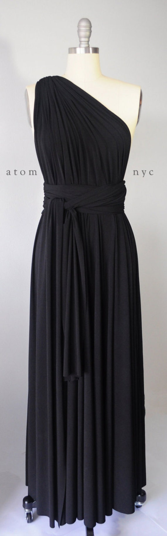 Black Long Maxi Infinity Dress Gown Convertible By Atomattire