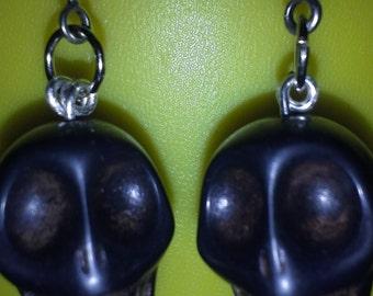 Black Skull Earrings E 172