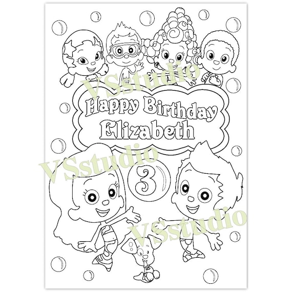 Bubble guppies birthday party coloring page pdf file for Bubbles guppies da colorare