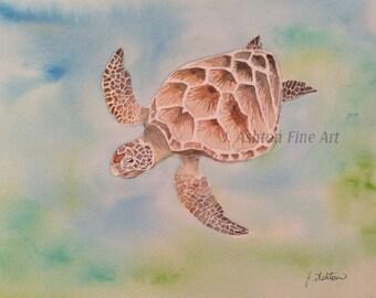 Original watercolor painting of a SEA TURTLE, turtle painting, tortoise, watercolour painting, water, animal painting original, ocean life