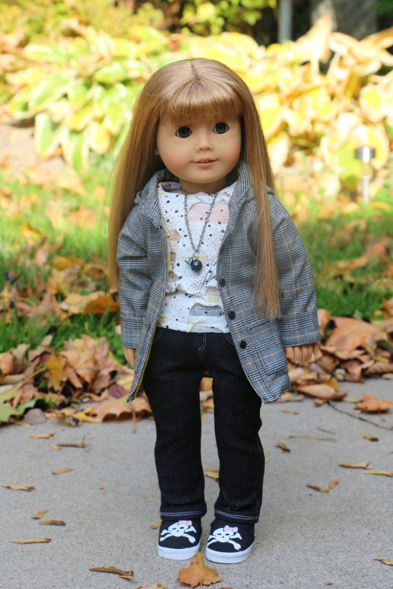 American Girl Outfit, Black and Yellow Plaid Lined Jacket, Distressed T-shirt, Black Skinny Jeans, Bracelets and  Necklace