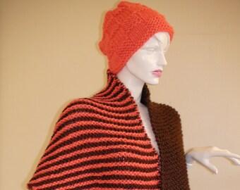 Set of Two.   Brown  Orange Wrap and Hat  . Orange Brown Shawl   .Warm-Cozy-Soft -Light Top.