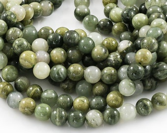 Green Rutilated Quartz, Smooth Round,Full Strand
