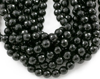 Natural Onyx Beads, 96-Faceted Round, Full Strand 4mm to 16mm Beads