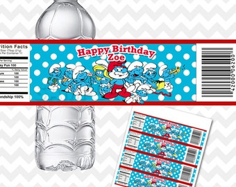 The Smurfs Water Bottle Labels, Smurf Party Printables, Stickers