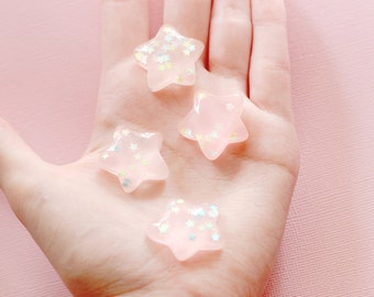 4 pcs Pink Dreamy Confetti Star Cabochon for Decoden FREE SHIPPING To USA
