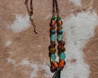 Glass Pendant with Stone Beads Necklace