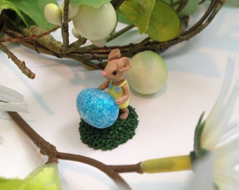 Miniature Woodland Easter Mouse with Blue Easter Egg Collectable Fairy Garden Terrarium Sculpture
