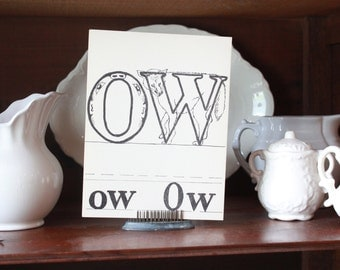 Vintage Large Letter ow O W Flash Card 1940s Children's Wall Art Kids Room Decor