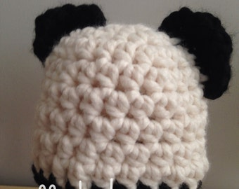 Newborn Crocheted Panda hat