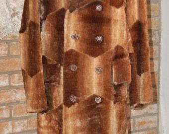Vintage 1970's Full Length Patchwork Faux Fur Coat
