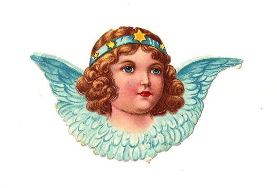 Engel mit Stirnband. Antike Die Ausschneiden Figur 7 cm. Deutschland. 1920 Vintage. Weihnachten. Ende des Jahres.