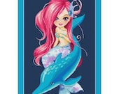 Cute Mermaid And Dolphin Counted Cross Stitch Pattern in PDF for Instant Download