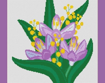 Purple  Crocus Flowers Counted Cross Stitch Pattern in PDF for Instant Download