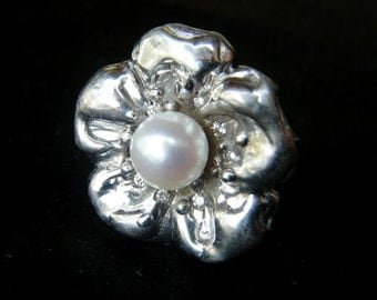 Real Pearl Ring Gold Unique FLOWER RING Cultured Freshwater PEARL Diamond Ring Unique Pearl Ring White Gold Pearl Diamond Ring Silver Custom
