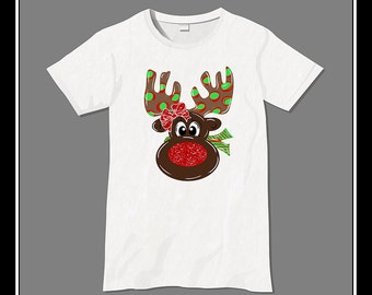 Girl Rudolph with sparkly, glitter red nose reindeer with glitter bow Iron On Transfer Heat Press Digital Download Girl Rudolph