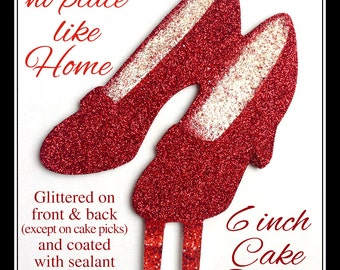 Wizard of Oz inspired Ruby Red Slippers Glittered 6 inch Cake Topper made out of durable PVC