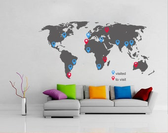 World Map with Pins - Large World Map Vinyl Wall Sticker - World Map Wall Sticker