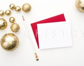 SET OF 3: Styled Stock Photography Red Envelope, White Card, Gold Glitter Balls, Gold Bangles, Product Mockup Photography Template, Glam