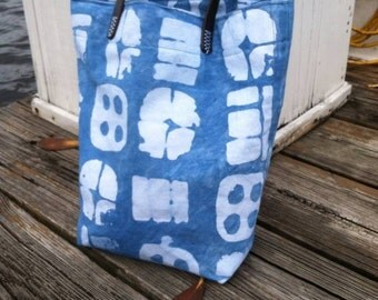 Hand dyed Indigo Batik Bag with Leather handles
