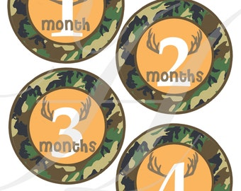 DIY PRINTABLE, Monthly Onesie Sticker, Camo, Iron On, Baby Boy, Monthly Stickers, Monthly Onesie, Monthly Stickers, Camoflauge, Camo Baby