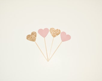 24 Dusty Rose and Gold Heart Cupcake Toppers- Wedding, Bridal Shower, Baby Shower, Bachelorette, Birthdays, Food Picks, Cake Decorations