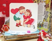 Kissing Couple Vintage Style Valentine (free shipping)