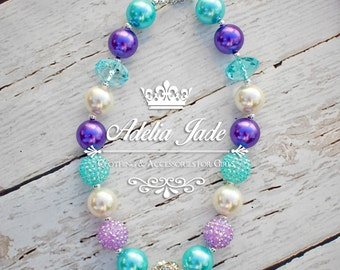 Baby Chunky Bubblegum Necklace, Purple Aqua Girls Chunky Necklace, Girls Bubblegum Necklace, Bubble Gum Children Necklace Baby Jewelry