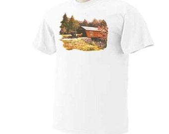 Amish Covered Bridge Horse and Buggy Decorative T-Shirt