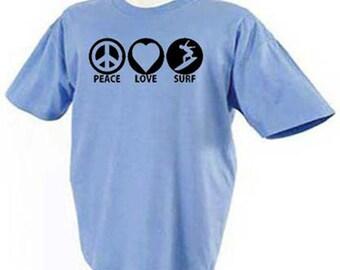 Peace Love Surf Surfing Surfers Beach Ocean Waves T-Shirt