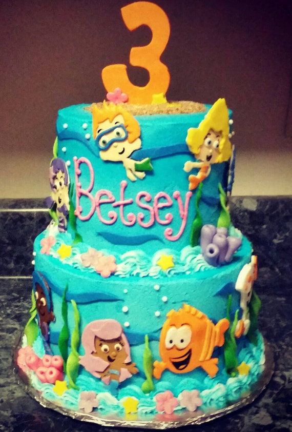 Handmade Edible Fondant Bubble Guppies inspired cake by ...
