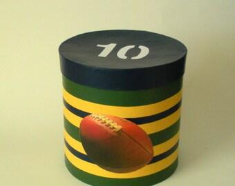 Football decorative box; sports decor box; striped storage box