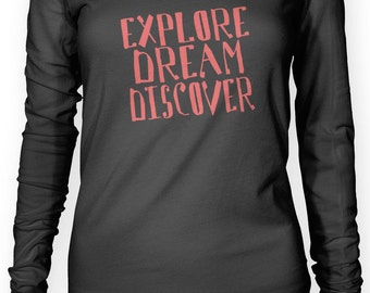 Explore Dream Discover (Red) Women's Long Sleeve Top (Available Sizes: XS - XL)