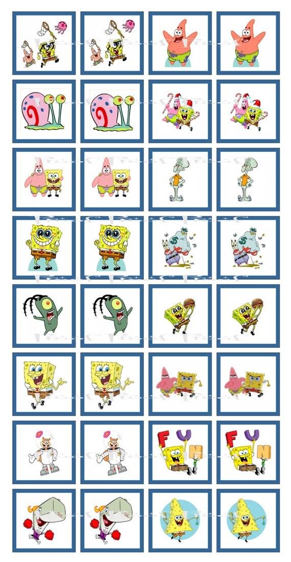 instant download spongebob digital memory game birthday